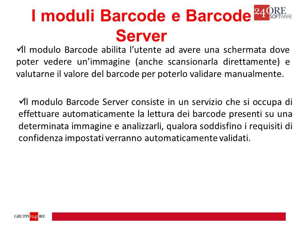 Il modulo Barcode abilita l'utente ad avere una schermata dove poter vedere un'immagine (anche scansionarla direttamente) e valutarne il valore del barcode per poterlo validare manualmente.