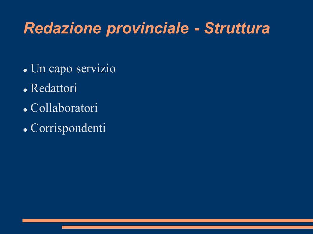 Redazione provinciale - Struttura Un capo servizio Redattori Collaboratori Corrispondenti