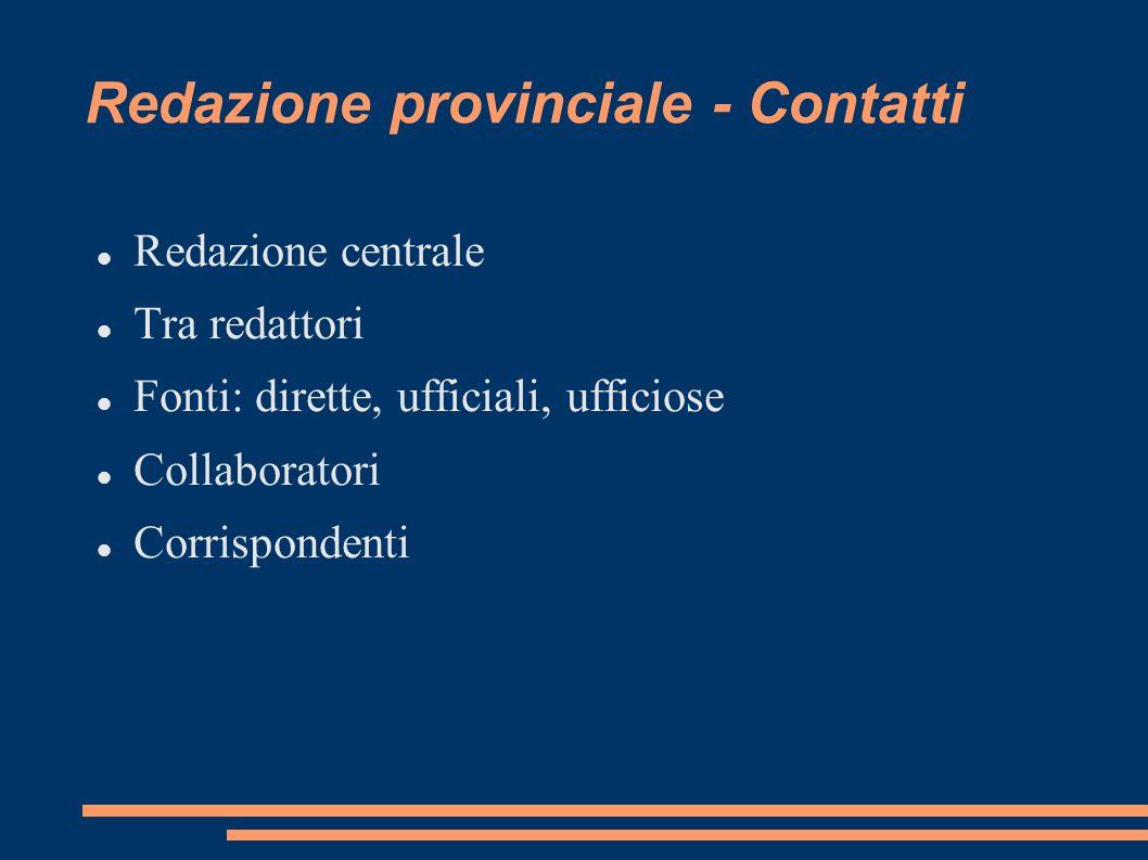 Redazione provinciale - Contatti Redazione centrale Tra redattori Fonti: dirette, ufficiali, ufficiose Collaboratori Corrispondenti