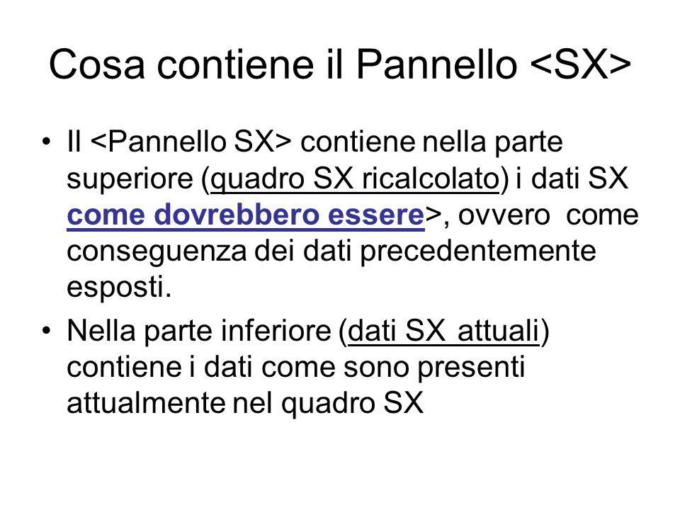 Cosa contiene il Pannello Il contiene nella parte superiore (quadro SX ricalcolato) i dati SX come dovrebbero essere>, ovvero come conseguenza dei dat