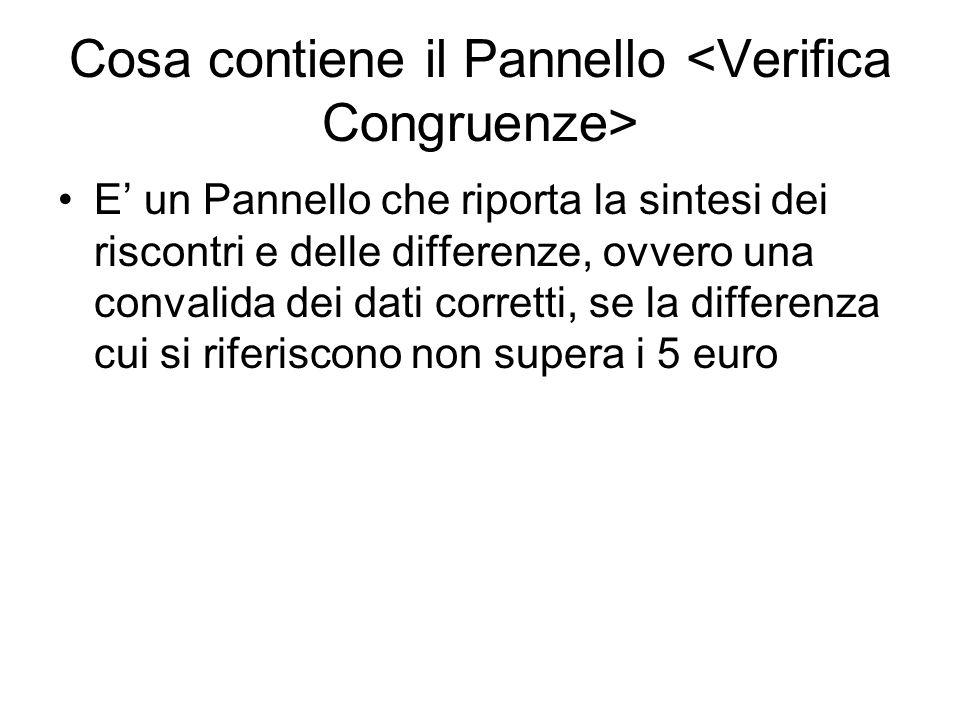 Cosa contiene il Pannello E' un Pannello che riporta la sintesi dei riscontri e delle differenze, ovvero una convalida dei dati corretti, se la differenza cui si riferiscono non supera i 5 euro