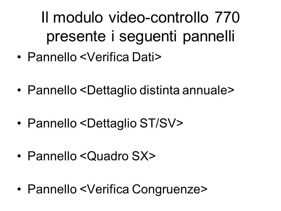 Il modulo video-controllo 770 presente i seguenti pannelli Pannello