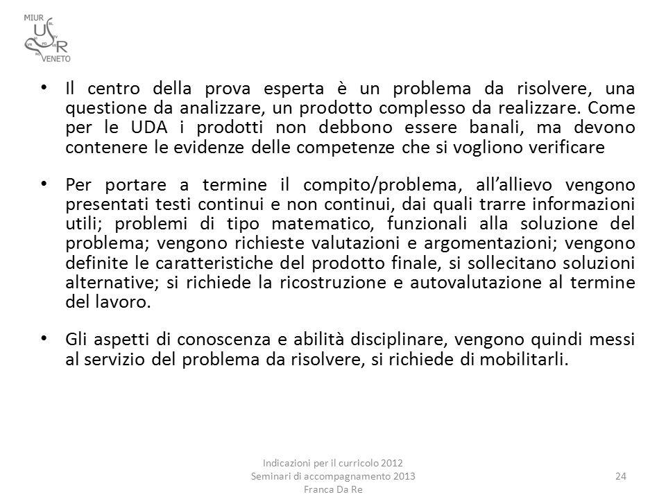 Indicazioni per il curricolo 2012 Seminari di accompagnamento 2013 Franca Da Re 24 Il centro della prova esperta è un problema da risolvere, una questione da analizzare, un prodotto complesso da realizzare.