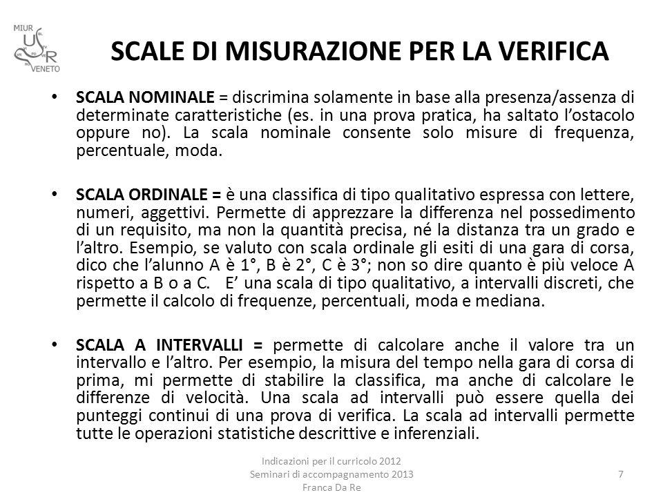 SCALE DI MISURAZIONE PER LA VERIFICA Indicazioni per il curricolo 2012 Seminari di accompagnamento 2013 Franca Da Re 7 SCALA NOMINALE = discrimina solamente in base alla presenza/assenza di determinate caratteristiche (es.