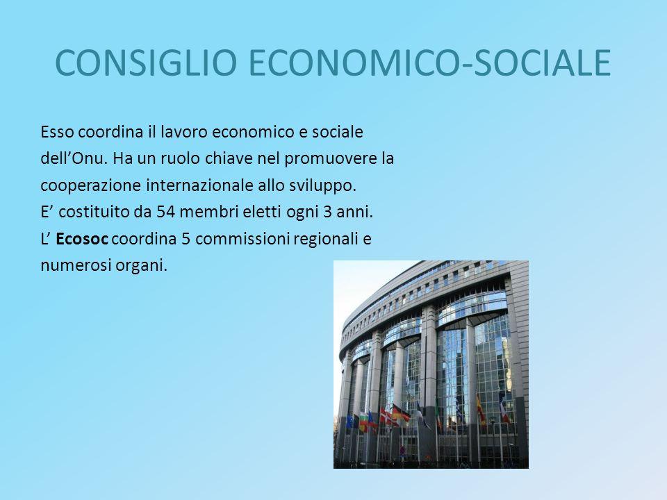 CONSIGLIO ECONOMICO-SOCIALE Esso coordina il lavoro economico e sociale dell'Onu. Ha un ruolo chiave nel promuovere la cooperazione internazionale all