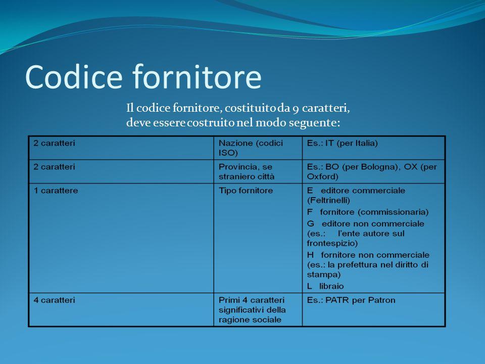 Codice fornitore Il codice fornitore, costituito da 9 caratteri, deve essere costruito nel modo seguente: