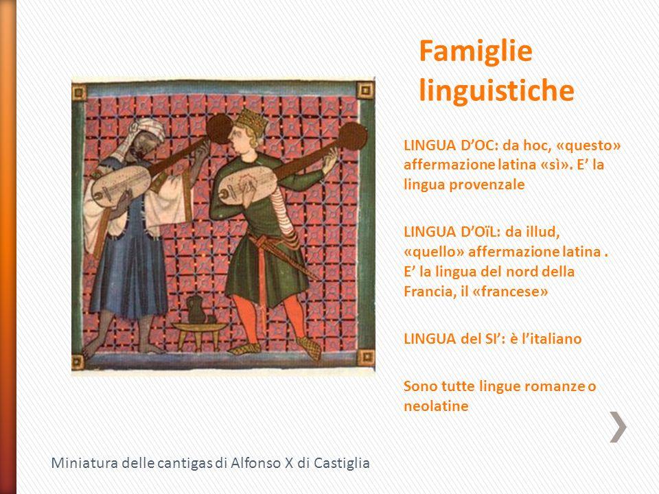 LINGUA D'OC: da hoc, «questo» affermazione latina «sì». E' la lingua provenzale LINGUA D'OïL: da illud, «quello» affermazione latina. E' la lingua del