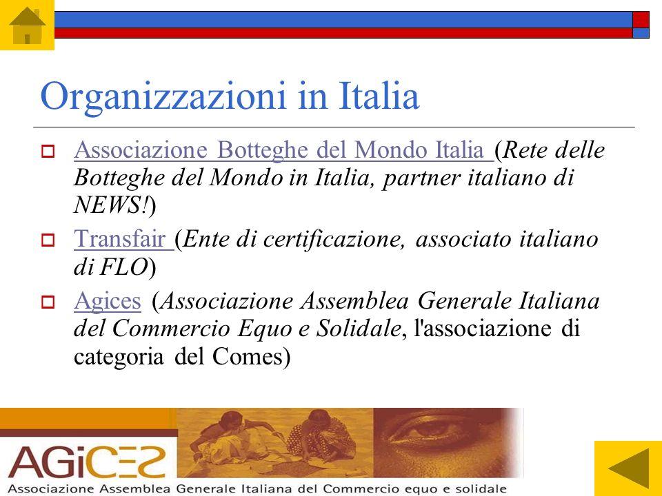 In Italia Il dato italiano sulla spesa pro- capite è il più basso d'Europa: 35 centesimi di euro a testa. Le botteghe solidali sono 400 in tutta Itali