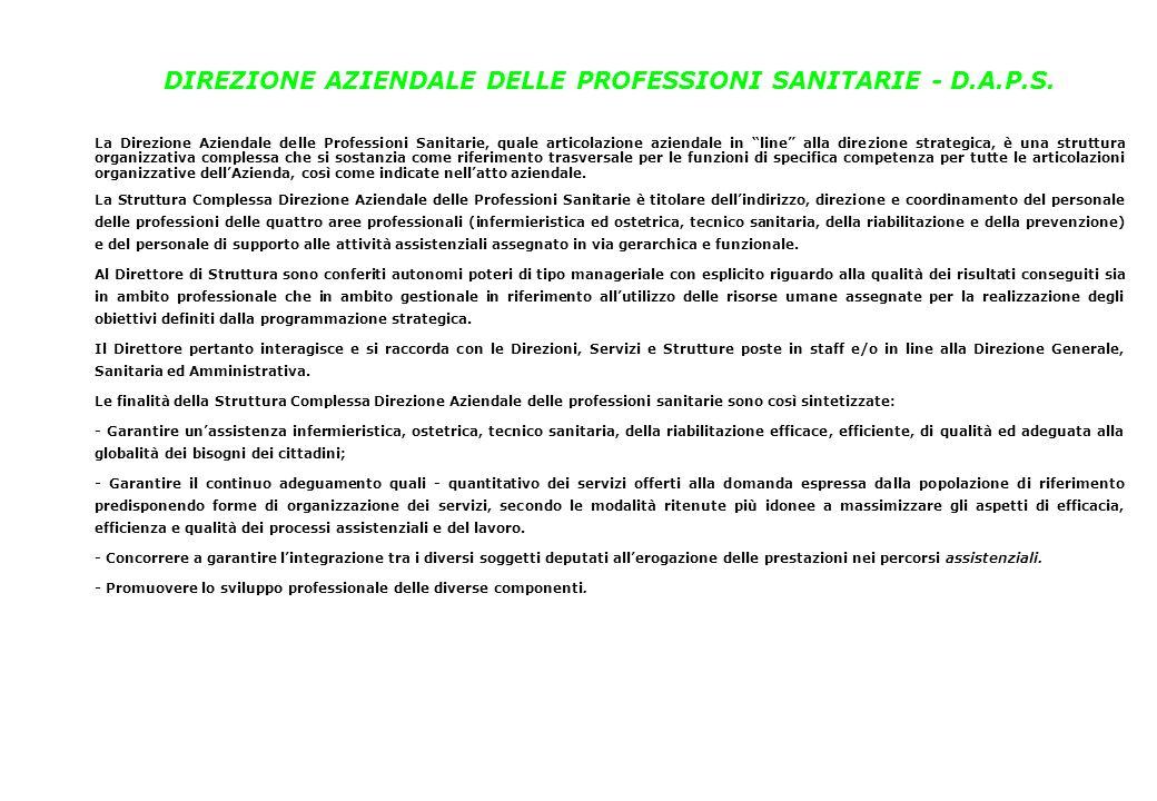 """DIREZIONE AZIENDALE DELLE PROFESSIONI SANITARIE - D.A.P.S. La Direzione Aziendale delle Professioni Sanitarie, quale articolazione aziendale in """"line"""""""