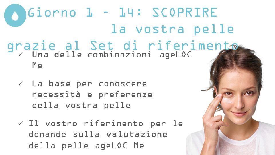 Giorno 1 – 14: SCOPRIRE la vostra pelle grazie al Set di riferimento Una delle combinazioni ageLOC Me La base per conoscere necessità e preferenze del
