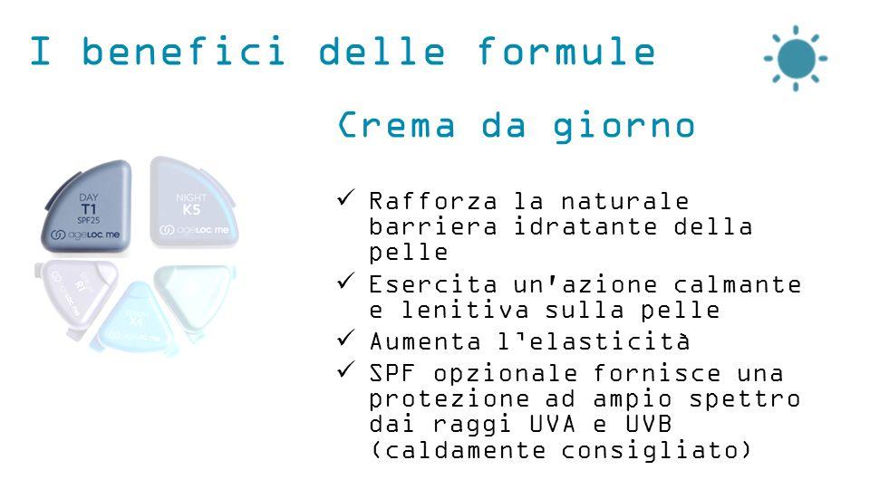 I benefici delle formule Crema da giorno Rafforza la naturale barriera idratante della pelle Esercita un azione calmante e lenitiva sulla pelle Aumenta l'elasticità SPF opzionale fornisce una protezione ad ampio spettro dai raggi UVA e UVB (caldamente consigliato)