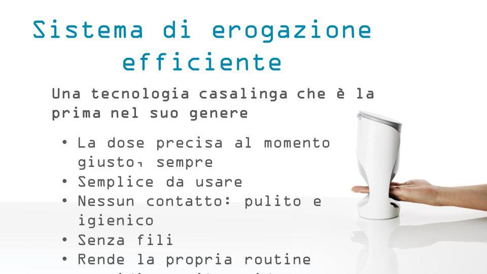 Sistema di erogazione efficiente Una tecnologia casalinga che è la prima nel suo genere La dose precisa al momento giusto, sempre Semplice da usare Ne
