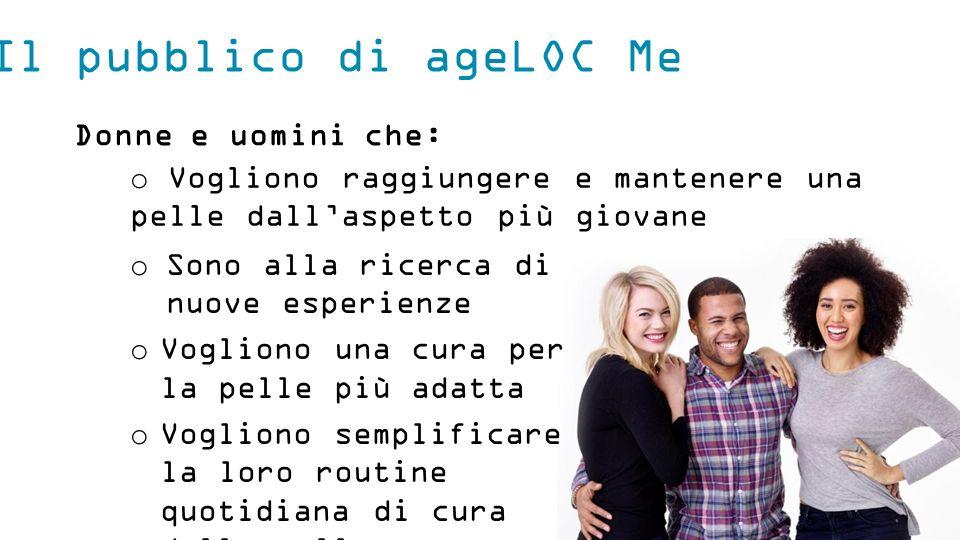 Il pubblico di ageLOC Me Donne e uomini che: o Sono alla ricerca di nuove esperienze o Vogliono una cura per la pelle più adatta o Vogliono semplifica