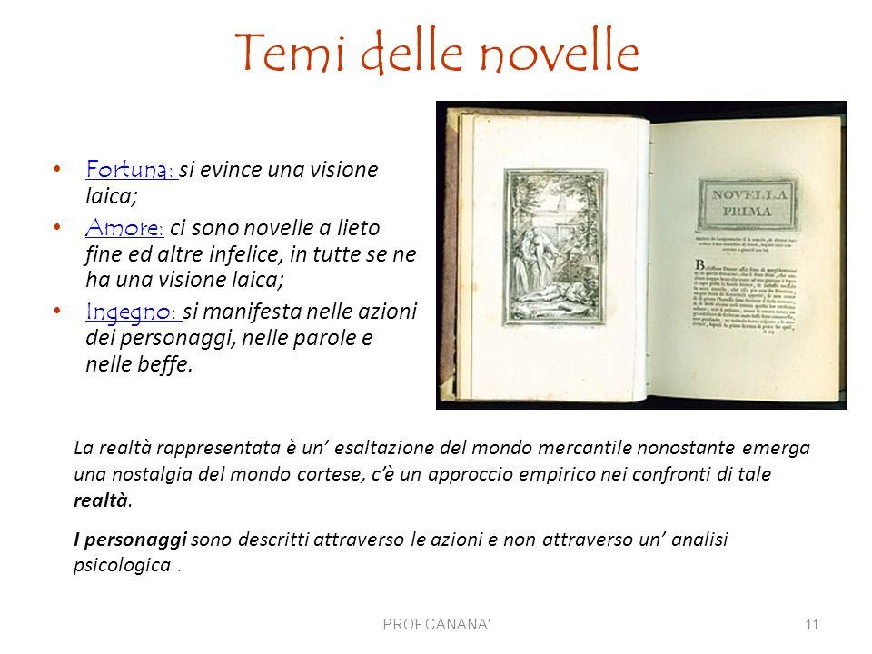 Temi delle novelle Fortuna: si evince una visione laica;Fortuna: Amore: ci sono novelle a lieto fine ed altre infelice, in tutte se ne ha una visione