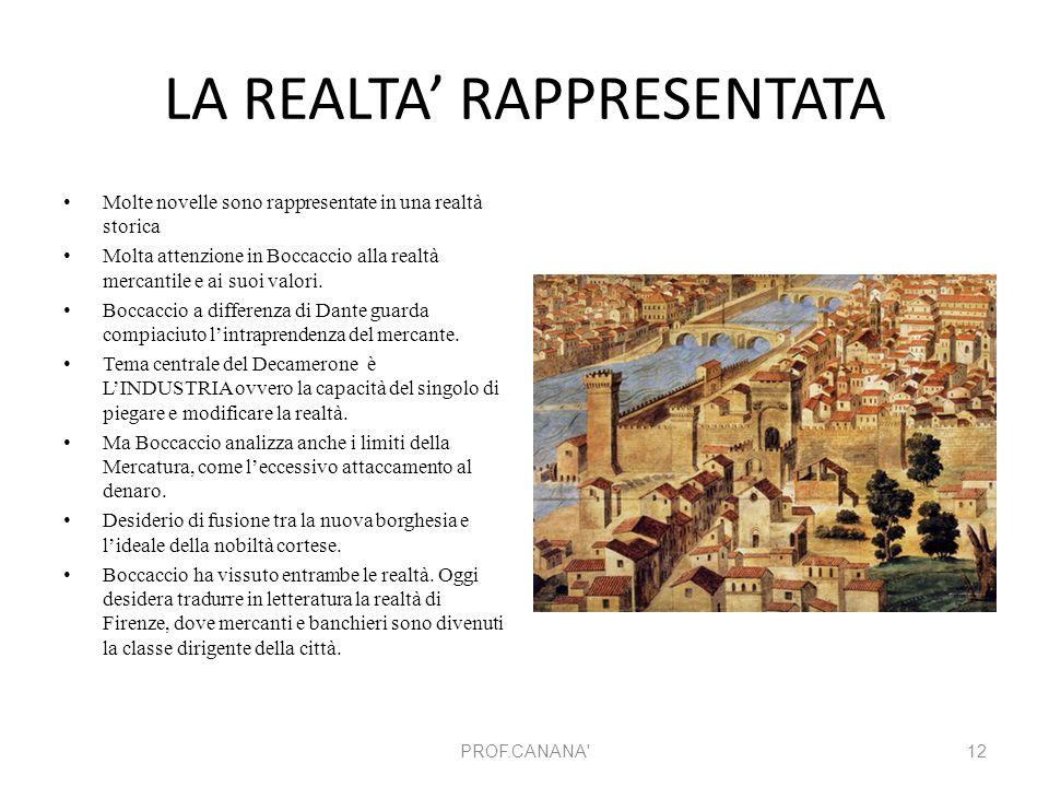 LA REALTA' RAPPRESENTATA Molte novelle sono rappresentate in una realtà storica Molta attenzione in Boccaccio alla realtà mercantile e ai suoi valori.