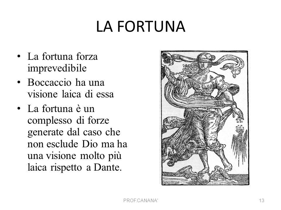 LA FORTUNA La fortuna forza imprevedibile Boccaccio ha una visione laica di essa La fortuna è un complesso di forze generate dal caso che non esclude
