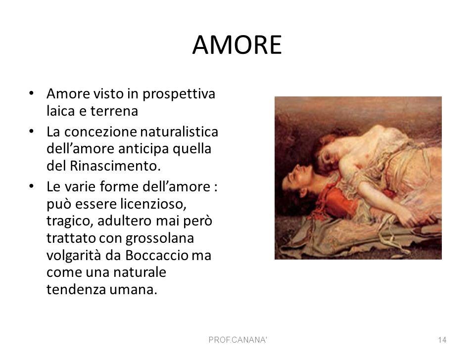 AMORE Amore visto in prospettiva laica e terrena La concezione naturalistica dell'amore anticipa quella del Rinascimento. Le varie forme dell'amore :
