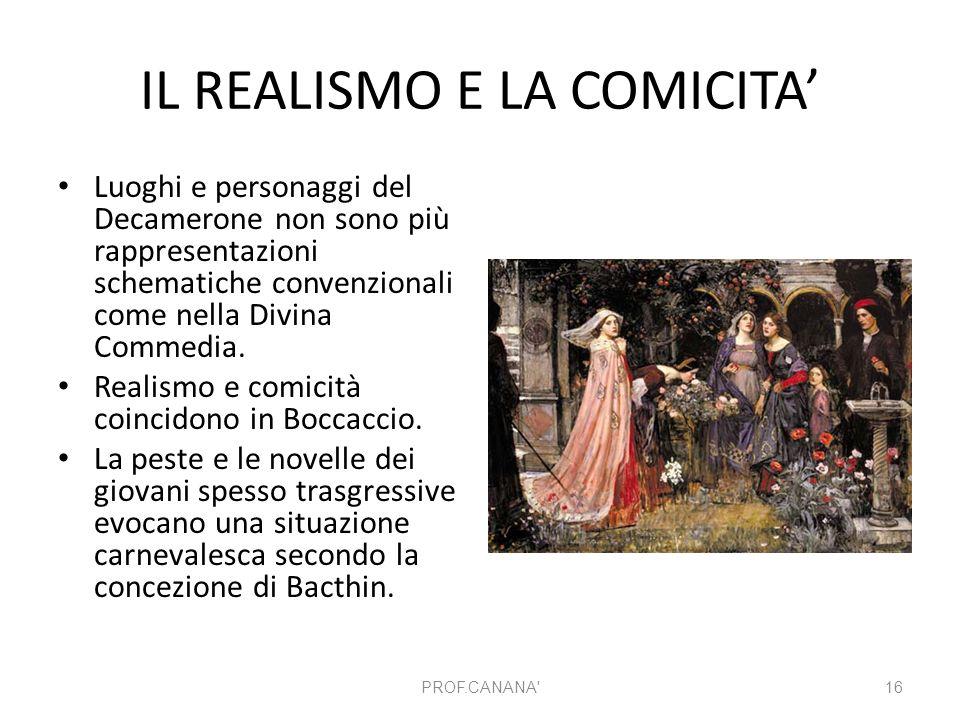 IL REALISMO E LA COMICITA' Luoghi e personaggi del Decamerone non sono più rappresentazioni schematiche convenzionali come nella Divina Commedia. Real