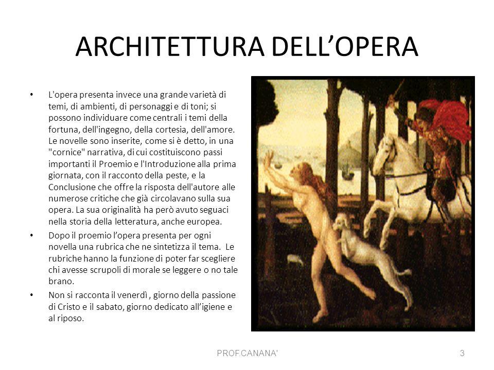 ARCHITETTURA DELL'OPERA L'opera presenta invece una grande varietà di temi, di ambienti, di personaggi e di toni; si possono individuare come centrali