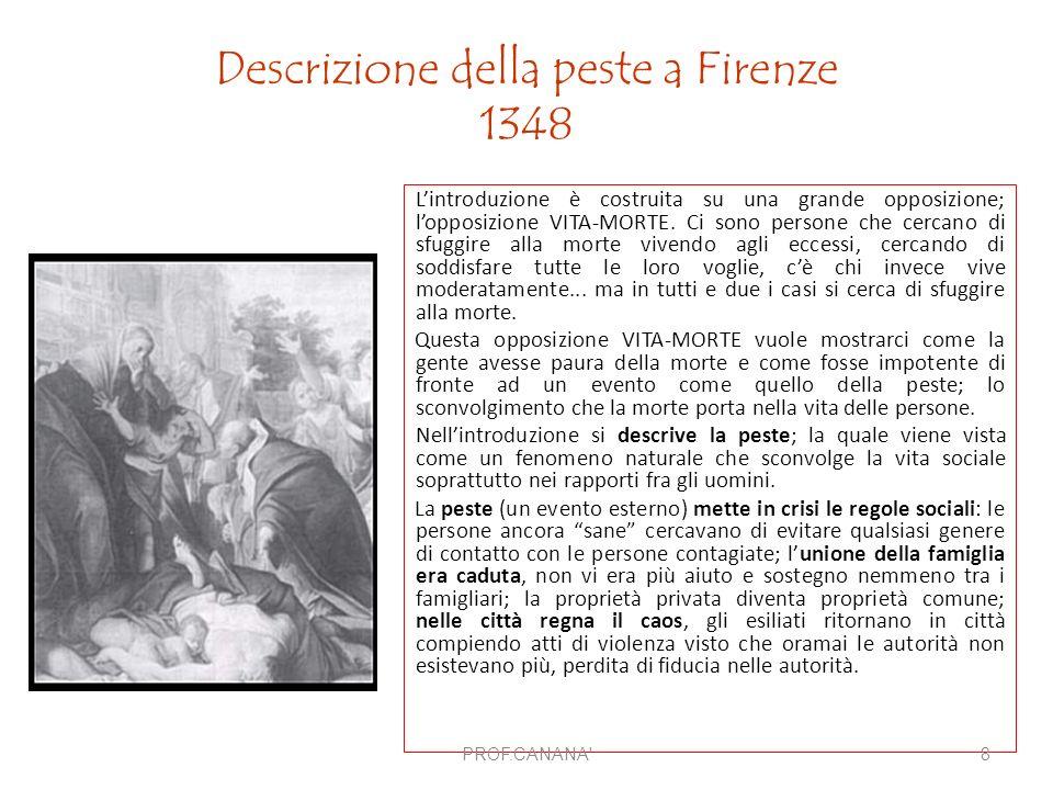 Descrizione della peste a Firenze 1348 L'introduzione è costruita su una grande opposizione; l'opposizione VITA-MORTE. Ci sono persone che cercano di