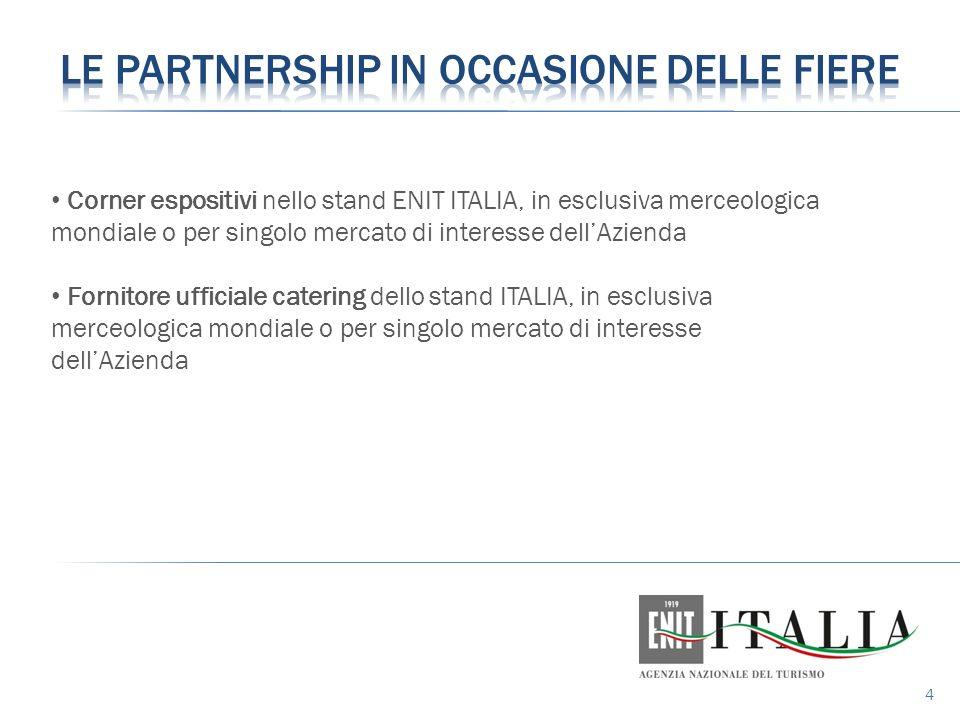 4 Corner espositivi nello stand ENIT ITALIA, in esclusiva merceologica mondiale o per singolo mercato di interesse dell'Azienda Fornitore ufficiale catering dello stand ITALIA, in esclusiva merceologica mondiale o per singolo mercato di interesse dell'Azienda
