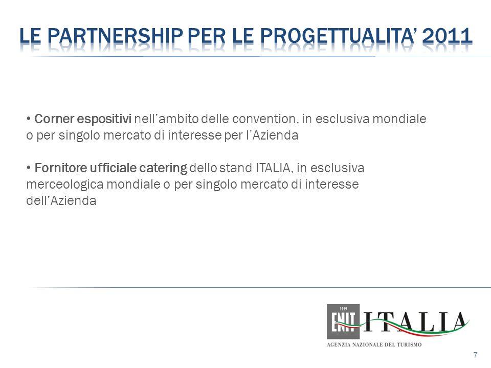 7 Corner espositivi nell'ambito delle convention, in esclusiva mondiale o per singolo mercato di interesse per l'Azienda Fornitore ufficiale catering dello stand ITALIA, in esclusiva merceologica mondiale o per singolo mercato di interesse dell'Azienda