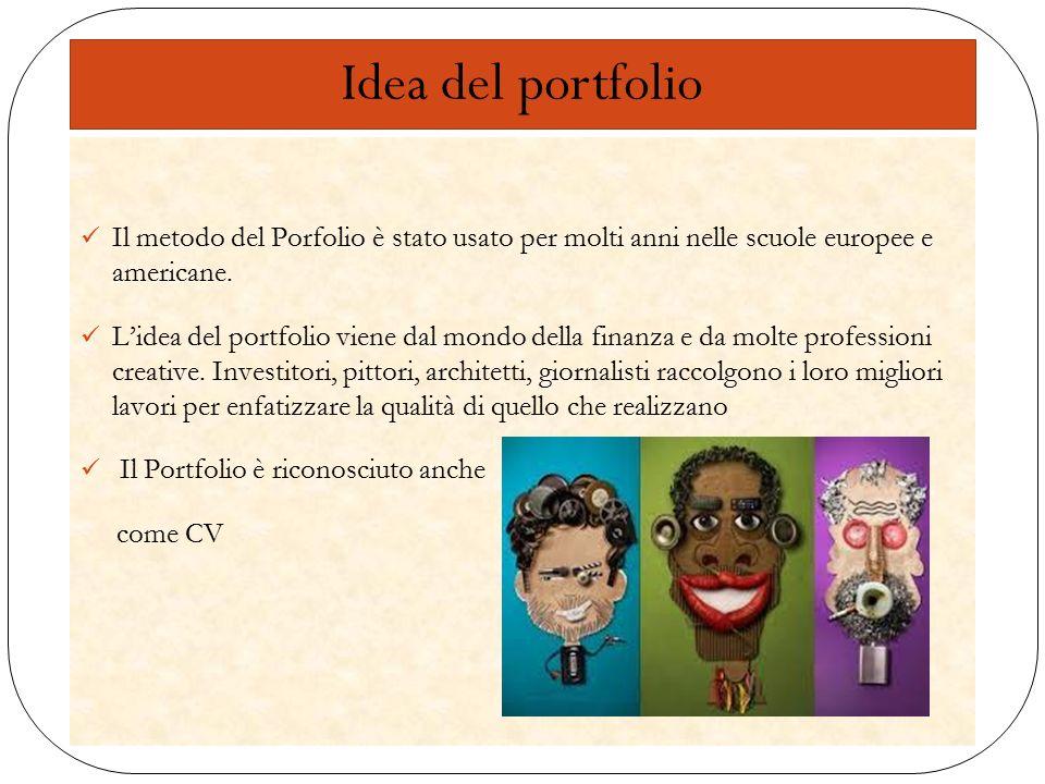 Il metodo del Porfolio è stato usato per molti anni nelle scuole europee e americane. L'idea del portfolio viene dal mondo della finanza e da molte pr