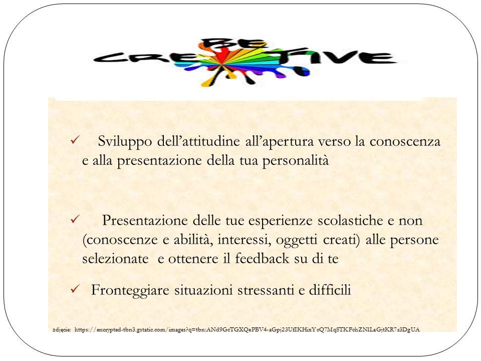 Sviluppo dell'attitudine all'apertura verso la conoscenza e alla presentazione della tua personalità Presentazione delle tue esperienze scolastiche e