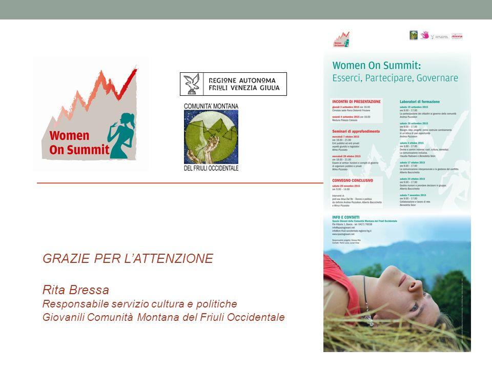 - GRAZIE PER L'ATTENZIONE Rita Bressa Responsabile servizio cultura e politiche Giovanili Comunità Montana del Friuli Occidentale
