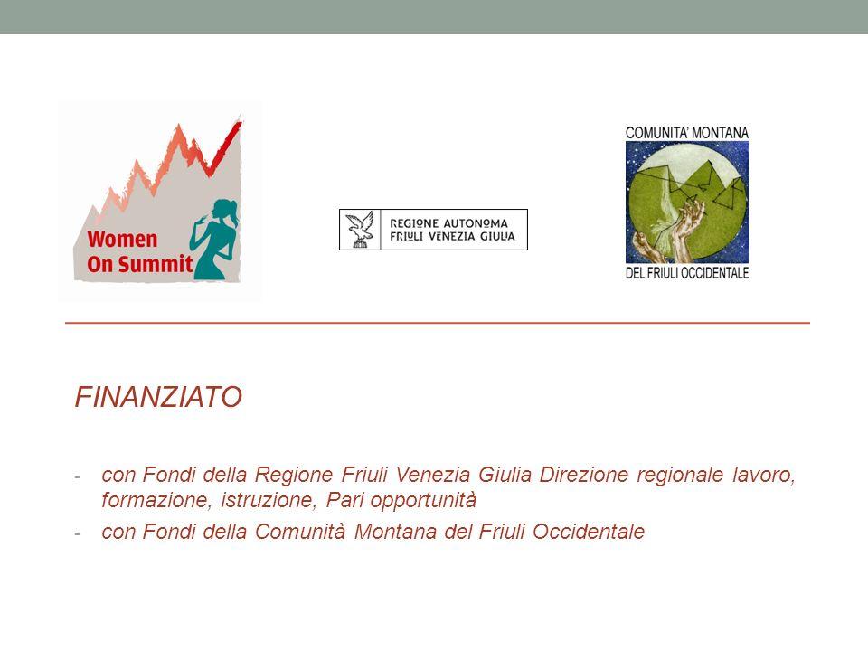 - FINANZIATO - con Fondi della Regione Friuli Venezia Giulia Direzione regionale lavoro, formazione, istruzione, Pari opportunità - con Fondi della Comunità Montana del Friuli Occidentale