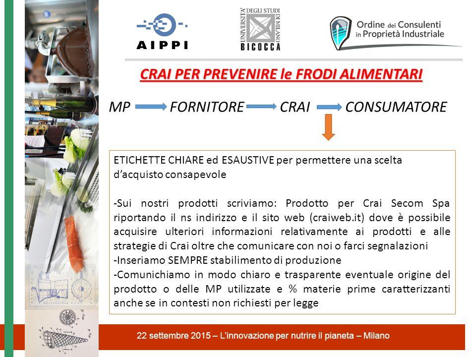 22 settembre 2015 – L'innovazione per nutrire il pianeta – Milano CRAI PER PREVENIRE le FRODI ALIMENTARI MP FORNITORE CRAI CONSUMATORE ETICHETTE CHIAR