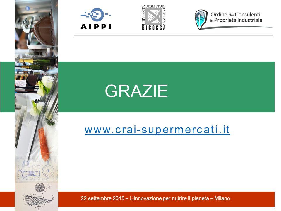 www.crai-supermercati.it GRAZIE 22 settembre 2015 – L'innovazione per nutrire il pianeta – Milano