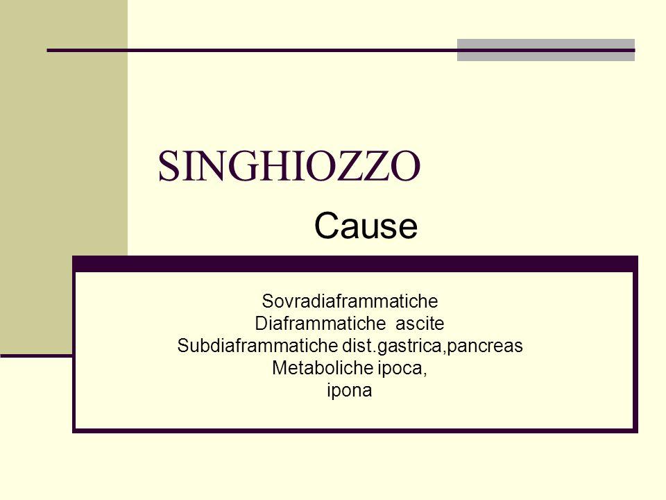 SINGHIOZZO Sovradiaframmatiche Diaframmatiche ascite Subdiaframmatiche dist.gastrica,pancreas Metaboliche ipoca, ipona Cause