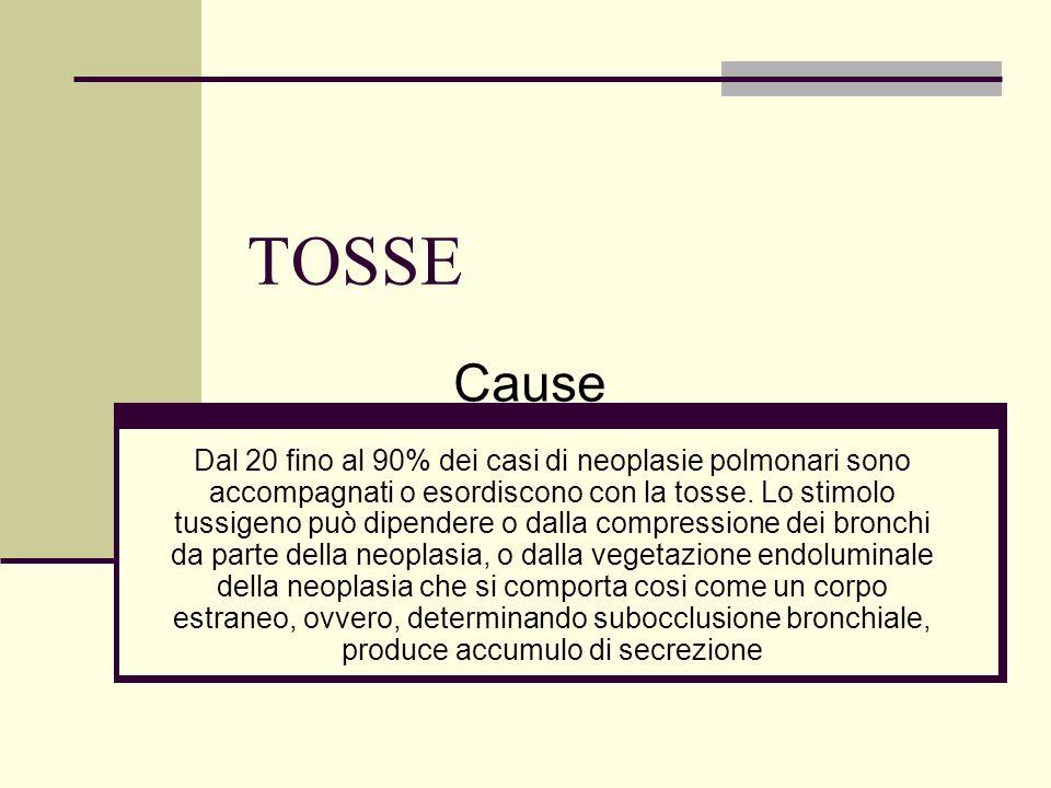 TOSSE Correlato indirettamente al tumore Cachessia Embolia polmonare Sindrome paraneoplastica Cause