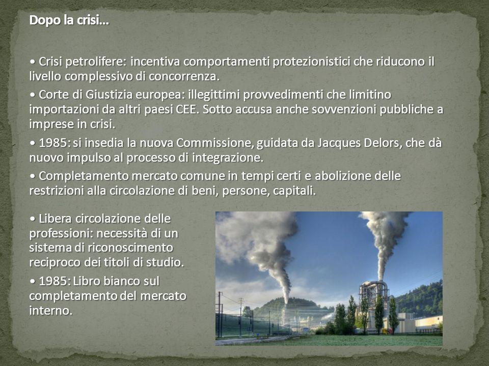Dopo la crisi… Crisi petrolifere: incentiva comportamenti protezionistici che riducono il livello complessivo di concorrenza. Crisi petrolifere: incen