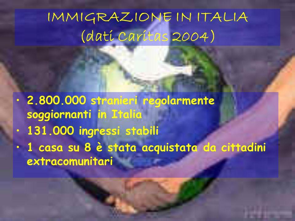 IMMIGRAZIONE IN ITALIA (dati Caritas 2004) 2.800.000 stranieri regolarmente soggiornanti in Italia 131.000 ingressi stabili 1 casa su 8 è stata acquistata da cittadini extracomunitari