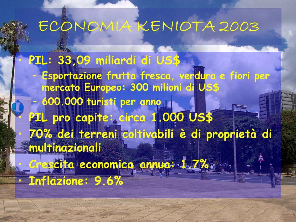 ECONOMIA KENIOTA 2003 PIL: 33,09 miliardi di US$ –Esportazione frutta fresca, verdura e fiori per mercato Europeo: 300 milioni di US$ –600.000 turisti per anno PIL pro capite: circa 1.000 US$ 70% dei terreni coltivabili è di proprietà di multinazionali Crescita economica annua: 1.7% Inflazione: 9.6%
