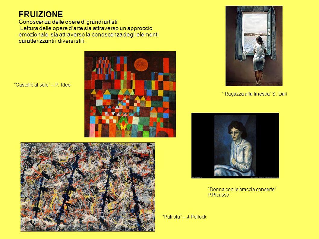 FRUIZIONE Conoscenza delle opere di grandi artisti. Lettura delle opere d'arte sia attraverso un approccio emozionale, sia attraverso la conoscenza de