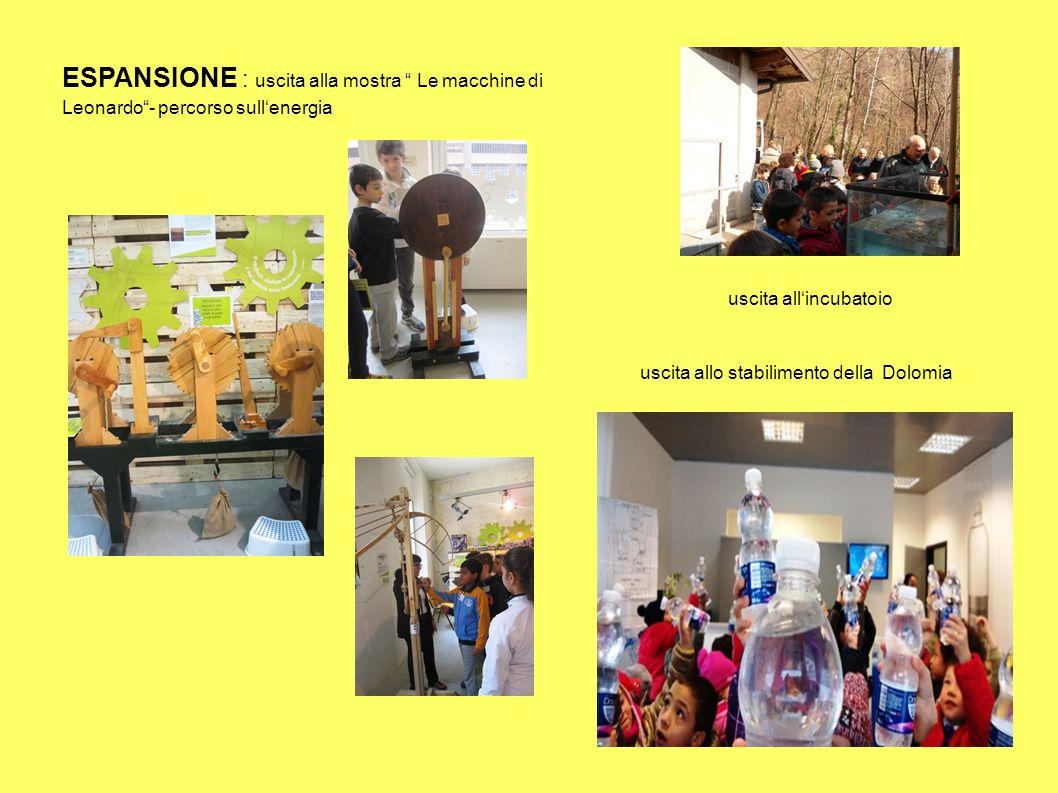 """ESPANSIONE : uscita alla mostra """" Le macchine di Leonardo""""- percorso sull'energia uscita allo stabilimento della Dolomia uscita all'incubatoio"""