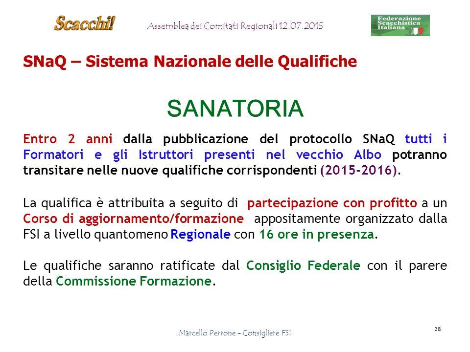 SNaQ – Sistema Nazionale delle Qualifiche SANATORIA Entro 2 anni dalla pubblicazione del protocollo SNaQ tutti i Formatori e gli Istruttori presenti nel vecchio Albo potranno transitare nelle nuove qualifiche corrispondenti (2015-2016).