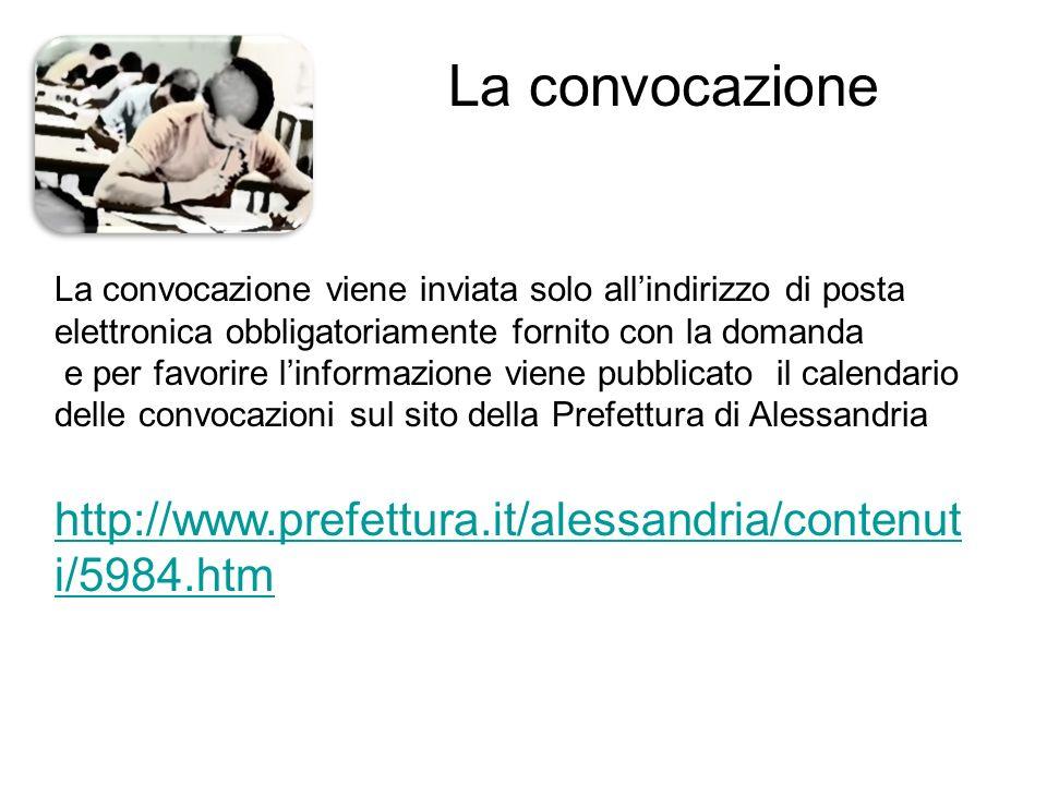 La convocazione La convocazione viene inviata solo all'indirizzo di posta elettronica obbligatoriamente fornito con la domanda e per favorire l'inform