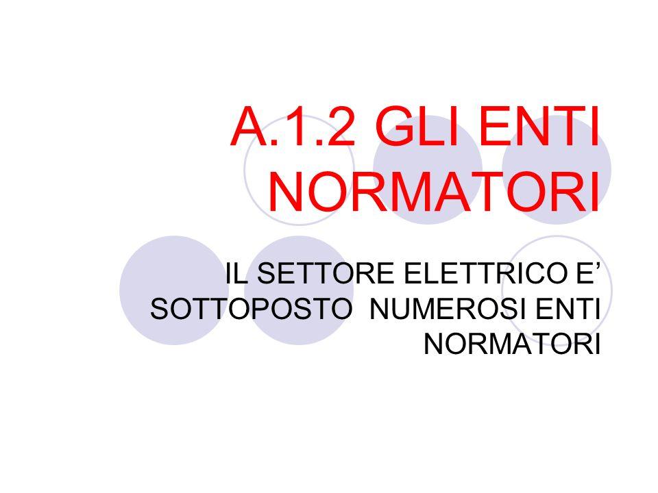 A.1.2 GLI ENTI NORMATORI IL SETTORE ELETTRICO E' SOTTOPOSTO NUMEROSI ENTI NORMATORI