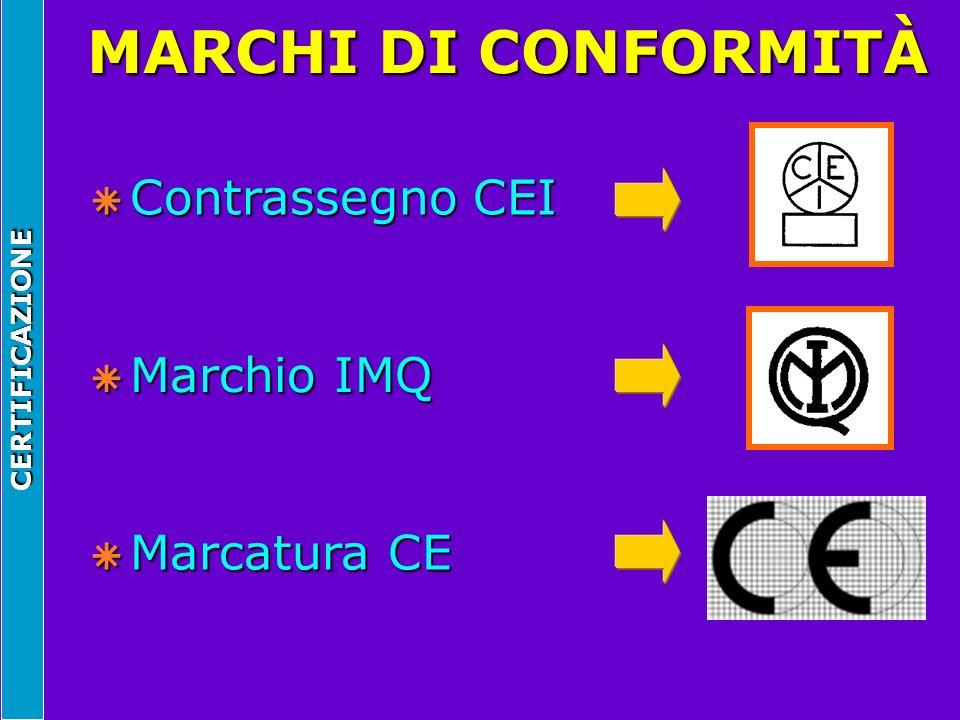 CERTIFICAZIONE MARCHI DI CONFORMITÀ  Contrassegno CEI  Marchio IMQ  Marcatura CE