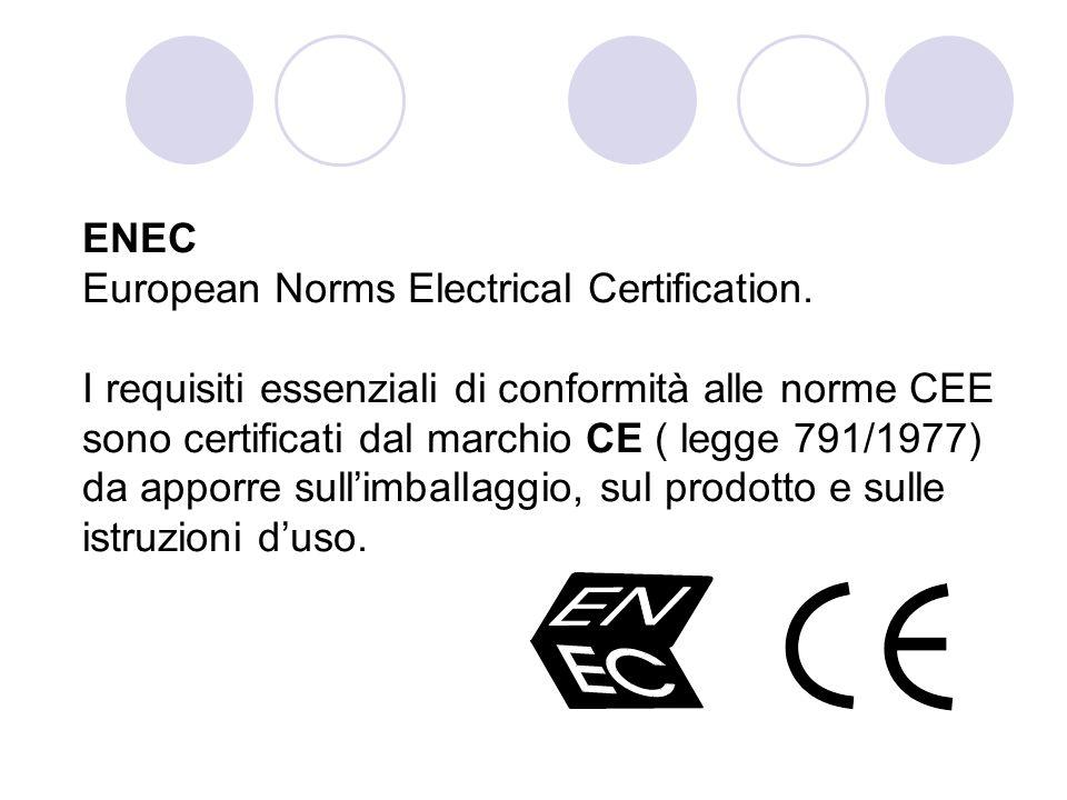 ENEC European Norms Electrical Certification. I requisiti essenziali di conformità alle norme CEE sono certificati dal marchio CE ( legge 791/1977) da