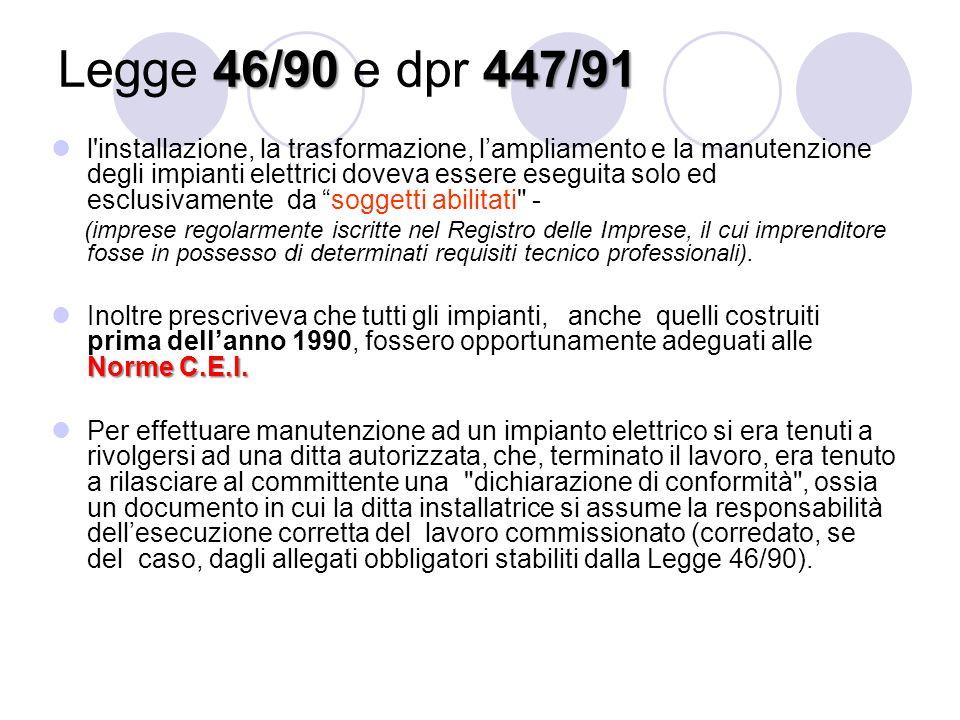 46/90447/91 Legge 46/90 e dpr 447/91 l'installazione, la trasformazione, l'ampliamento e la manutenzione degli impianti elettrici doveva essere esegui