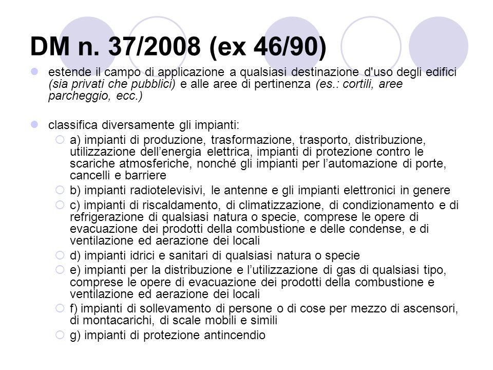 DM n. 37/2008 (ex 46/90) estende il campo di applicazione a qualsiasi destinazione d'uso degli edifici (sia privati che pubblici) e alle aree di perti