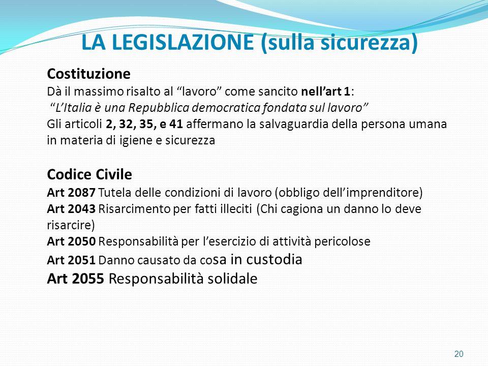 """LA LEGISLAZIONE (sulla sicurezza) Costituzione Dà il massimo risalto al """"lavoro"""" come sancito nell'art 1: """"L'Italia è una Repubblica democratica fonda"""