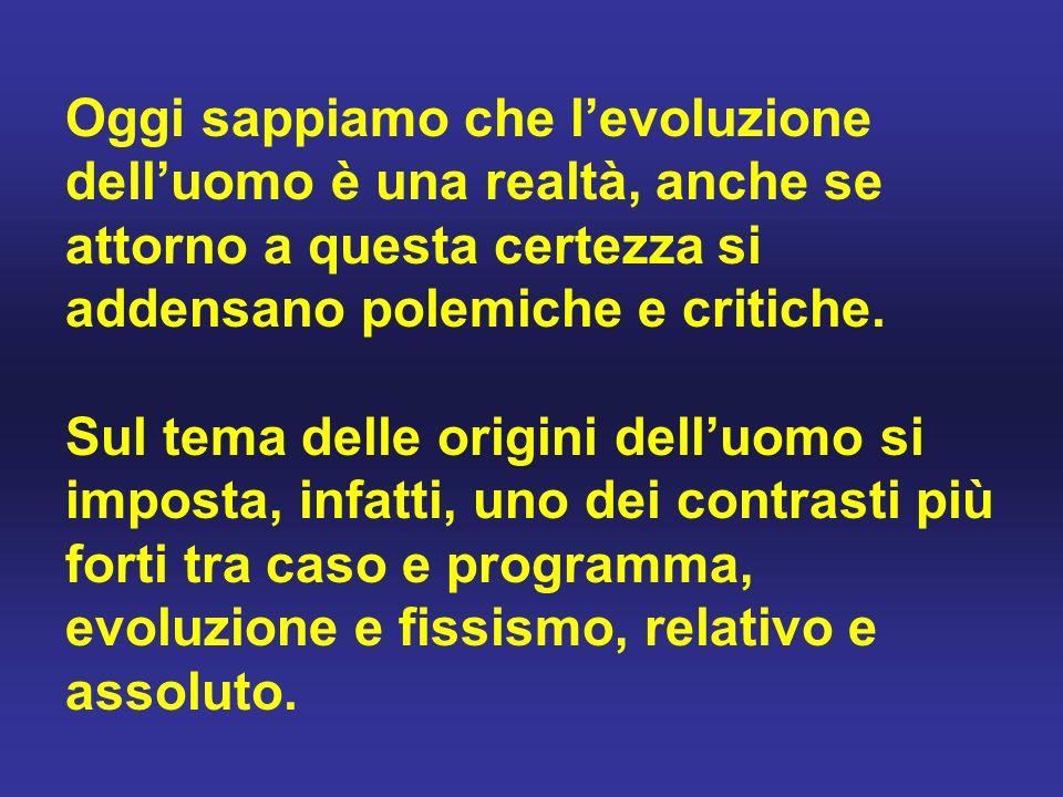 Oggi sappiamo che l'evoluzione dell'uomo è una realtà, anche se attorno a questa certezza si addensano polemiche e critiche.