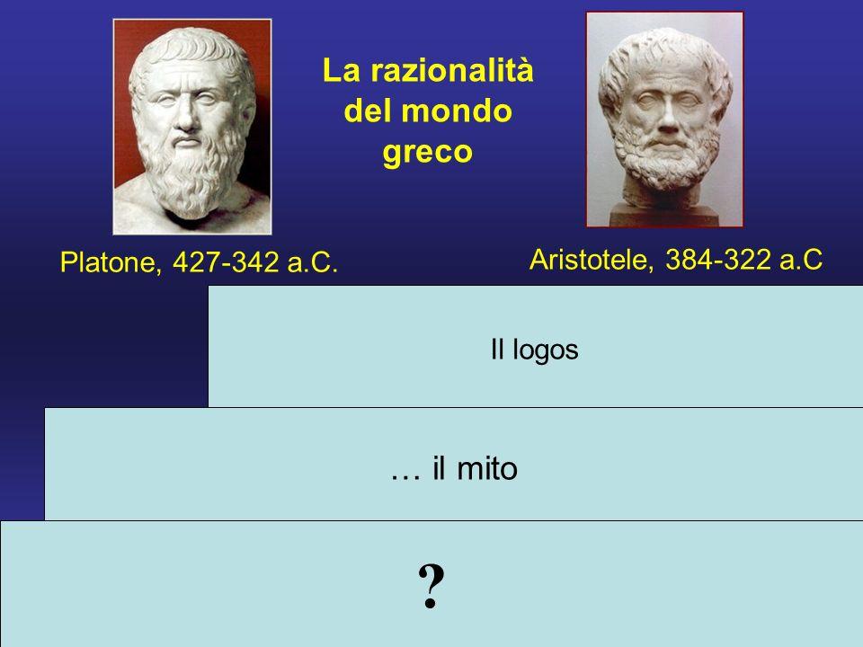 Il logos … il mito Platone, 427-342 a.C. Aristotele, 384-322 a.C La razionalità del mondo greco