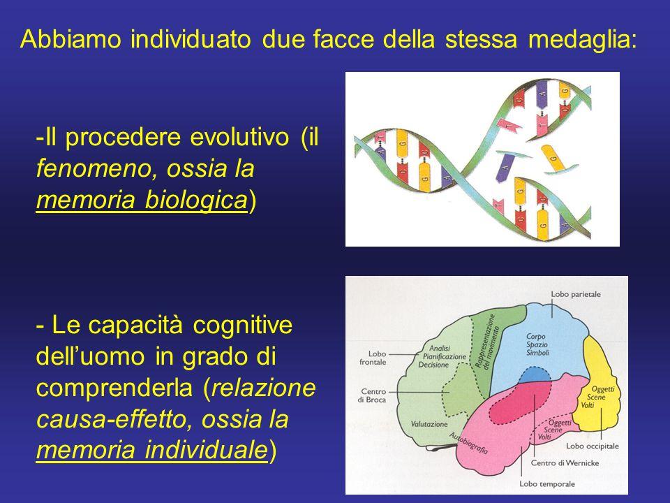 -Il procedere evolutivo (il fenomeno, ossia la memoria biologica) - Le capacità cognitive dell'uomo in grado di comprenderla (relazione causa-effetto, ossia la memoria individuale) Abbiamo individuato due facce della stessa medaglia: